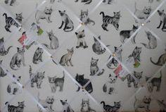 Large Prestigious Charcoal Cool Cats fabric notice / memo / memory / pin board | eBay