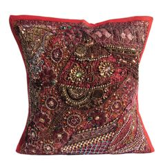 "16X16"" Indian Cotton Beaded Patch Work Decorative Pillow Case Cushion Cover 070 #Handmade #ArtDecoStyle"