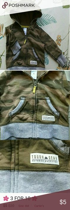 🌸 3 FOR 10$ 🌸 Carter's camo hoodie Camo zip hoodie size 6 mos. Carter's Shirts & Tops Sweatshirts & Hoodies
