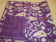 kantha handmade coverlet/kantha quilts/reversible quilt ikat print tagai work