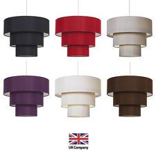 Modern Easy Fit 3 Tier Fabric Ceiling Pendant Light Shade Lampshades Shades NEW