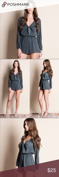 Pretty Satin romper Really pretty charcoal colored lightweight tie front satin feel romper. The last photos are raw with no prep like ironing or steaming. Pretty piece.  polyester. Said to be true to size. Aluna Levi Pants Jumpsuits & Rompers