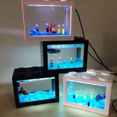 Intelligent Fighting Cylinder Betta Mini Aquarium Building Block Plastic Tank Led Bowl Strong Packing Fish & Aquariums Pet Supplies
