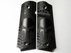 """1911 Pistol Grips .25"""" Thickness - Honey Comb Punisher Skull Design"""