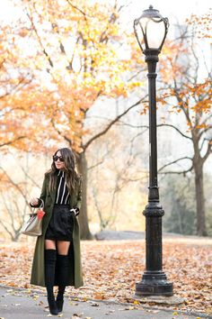 Autumn in Central Park :: Green coat