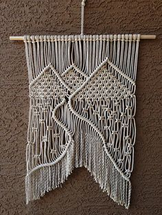 Mountain Landscape Macrame Wall Hanging // White Cotton Rope