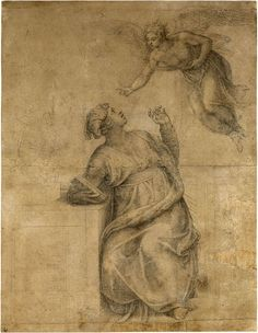 Michelangelo Buonarroti (1475–1564). Annunciation to the Virgin. Black chalk, some stumping, on paper; traced with a stylus. 15 1/8 x 11 11/16 inches (383 x 297 mm)