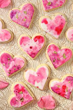 Watercolor Rose Sugar Cookies   From SugarHero.com
