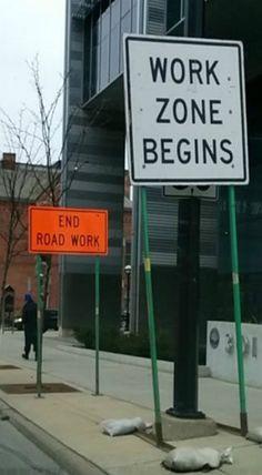 Bill ✔️  Shortest work zone ever.    Bill Gibson-Patmore.  (curation & caption: @BillGP). Bill✔️