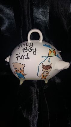 Baby's first piggy bank hand painted