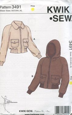 Free Us Ship Sewing Pattern Kwik Sew 3491 Misses Hoody Bomber Jacket 2007 Out of Print Size XS-XL Bust 30 32 34 36 38 40 42 44 45 by LanetzLivingPatterns on Etsy