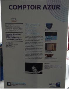 Pancarte de présentation de Comptoir Azur et de sa fondatrice (Rim SOUISSI). Photo : COMPTOIR AZUR