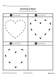 Drawing a Heart Shape Worksheet.Practice drawing a geometric Heart shape in four steps in this printable worksheet.