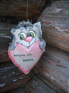 Игрушки животные, ручной работы. Ярмарка Мастеров - ручная работа. Купить Льняной Котик с большим сердечком....Потому что люблю.....Роспись.. Handmade.