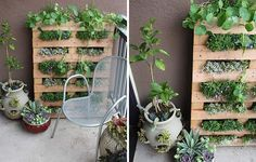 Fill a pallet with plants to grow a garden vertically.