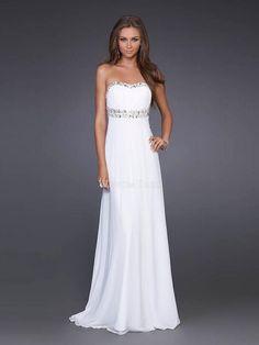 A Terra Stile impero Senza Maniche Senza Spalline Bianco Chiffon online abiti eleganti lunghi -wepromdress.com