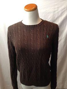 POLO RALPH LAUREN brown cotton cableknit crewneck sweater Large L #PoloRalphLauren #Crewneck