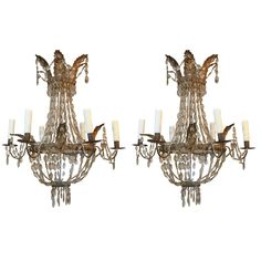 Pair of Early Italian 19th Century Gold Metal and Crystal Chandelier from Genoa