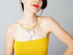 Coala Tassel Necklace Tassel Jewelry Ivory Necklace Statement Necklace Gold Necklace Designer Necklace Fashion Accessory