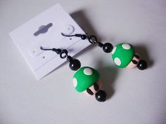 Mario Inspired ClayBeaded 1UP Extra Life Dangle by NekoWorks, $11.99