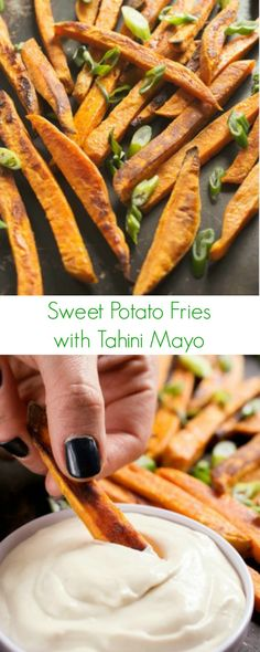 Sweet Potato Fries with Tahini Mayo Recipe - The most addicting side you will ever eat, perfect with any dinner or lunch! - The Lemon Bowl: