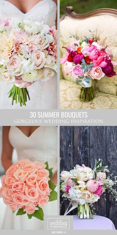 30 Gorgeous Summer Wedding Bouquets ❤ Summer brides a lucky to have the most beautiful flowers in season for their wedding bouquet. See more: http://www.weddingforward.com/gorgeous-summer-wedding-bouquets/ #wedding #bride #weddingbouquet #summerwedding