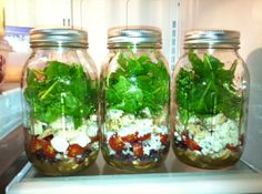 Saw this idea on Pinterest, I thought it is a great idea. Basically, you buy some mason jars (available at your local craft store like Michaels),  add your dressing first, then whatever you want in your salad, and then your greens last. Supposedly, as long as your greens don't touch the dressing these little salads will last nicely for a few days. All you have to do in the morning is grab one and go. When you're ready to eat just give your jar a shake and enjoy!