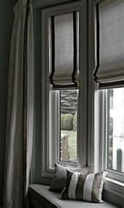 Window treatment for bay window in kitchen. Like the roman shades, outside curtains and window seat. Bedroom Windows, Blinds For Windows, Curtains With Blinds, Bay Windows, Roman Curtains, Gypsy Curtains, Blinds Diy, Shades Blinds, Bedroom Curtains