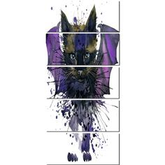 DesignArt 'Black Cat with Blue Wings' 5 Piece Painting Print on Wrapped Canvas Set