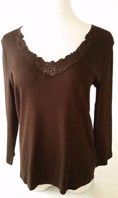 Women's RALPH LAUREN Brown Long Sleeve Lace V-Neck Blouse Top Size Large #RalphLauren #SoftKnitTop