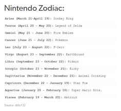 The Signs.  Nintendo Zodiac