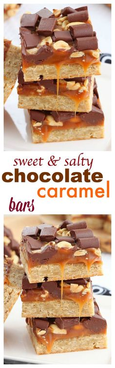 For chocolate and caramel lovers! These chewy bars have layer upon layer of caramel and chocolate goodness on top of a soft oatmeal cookie crust. Scatter some peanut on top for a crunchy salty kick.
