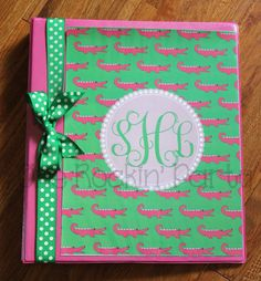 Personalized Binder Cover Insert - Preppy - Hot Pink - DIY Printable