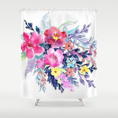 navy blue and yellow shower curtain. Floral Watercolor Vibrant Shower Curtain  Made to Order Bath Standard Length 71 x74 Pink Purple Yellow Navy Blue Ocean Beach Water Sky