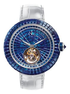 Jacob & Co.'s Brilliant Skeleton Tourbillon Collection Timepiece with a White Gold Case set with Baguette Blue Sapphires