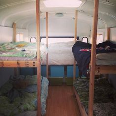 bus conversion bunk bed | Old Bus Converted into Awesome Tiny House For Family of 6
