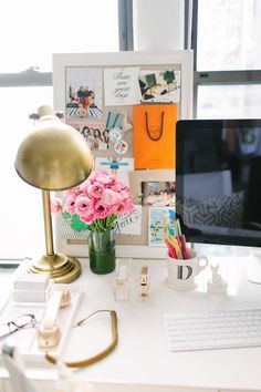 @Danielle Moss  Chicago Home Tour // office space // desk styling // @west elm parsons desk // @Ballard Designs gold lamp // @Anthropologie mug // gold pop phone //  photography by Stoffer Photography