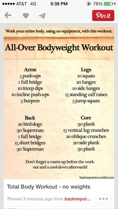 Body weight work outs