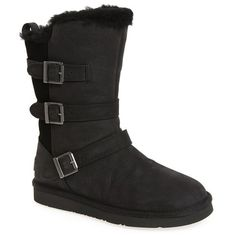 Women's Ugg Becket Ii Water Resistant Boot ($225) ❤ liked on Polyvore featuring shoes, boots, black leather, lightweight motorcycle boots, leather motorcycle boots, black leather boots, lightweight boots and biker boots