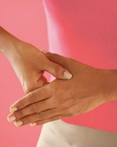 Calm a queasy stomach with this quick acupressure trick: Use your index and middle fingers to press down on the groove between the tendons that run from the base of your palm to your wrist.