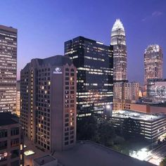 Explore Uptown Charlotte at dusk for beautiful views and delicious dining.