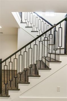 40 Awesome Modern Stairs Railing Design for Your Home - Rockindeco Modern Stair Railing, Stair Railing Design, Staircase Railings, Modern Stairs, Banisters, Handrail Ideas, Staircases, Metal Handrails For Stairs, Stairway Railing Ideas