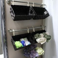 Wall Storage Baskets - find four short bars and line baskets up vertically to store produce in the kitchen