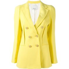 3.1 Phillip Lim double breasted blazer ($808) ❤ liked on Polyvore featuring outerwear, jackets, blazers, 3.1 phillip lim, double breasted jacket, double-breasted blazer, blazer jacket and yellow blazer jacket