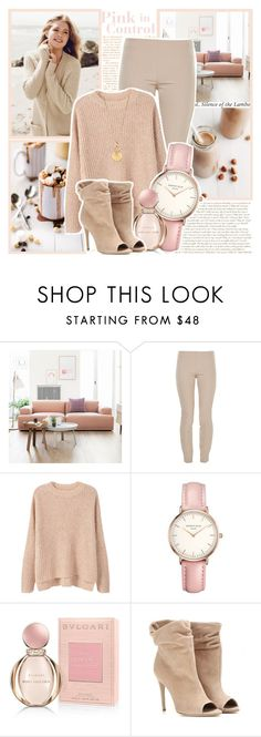 """""""Pink in Control"""" by l33l ❤ liked on Polyvore featuring Repeat Cashmere, Muuto, The Row, MANGO, Topshop, Bulgari, Burberry and Aurélie Bidermann"""