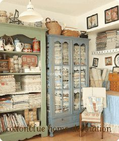{Cotton Blue}  Cotton Blue's craft room is full of Japanese fabric…I love it!