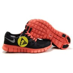 premium selection 09c14 7476b Billig unikt 2012 Dame Nike Free Run Plus 2 Svart Rød Sølv Nike Shoes For  Sale