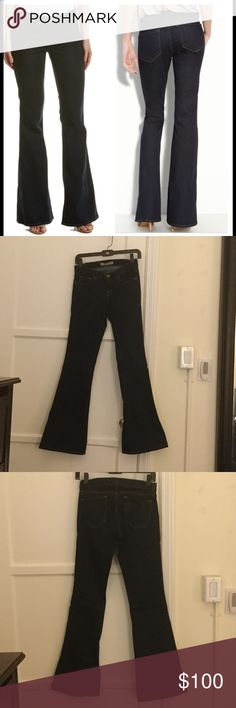 """J BRAND """"Babe"""" Flare Like New Condition  No Fading.  Very minimal wear on bottom edge of hem.   Beautiful saturated dark blue wash.   32"""" inseam   Perfect for heels 👠!!!  98% cotton 2% elastane creates a super comfy fitted flare leg pant. J Brand Pants Boot Cut & Flare"""