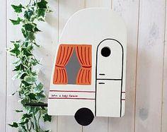 Personalised Bird House Caravan Bird Box, Caravan Gift Garden Gift