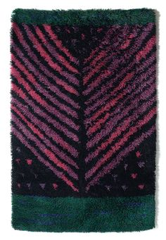 Arne Lindaas; Wool 'Gren' Rug, 1960. Weaving Textiles, Textile Fabrics, Textile Patterns, Rugs On Carpet, Carpets, Scandinavian Embroidery, Rya Rug, Modern Tapestries, Latch Hook Rugs
